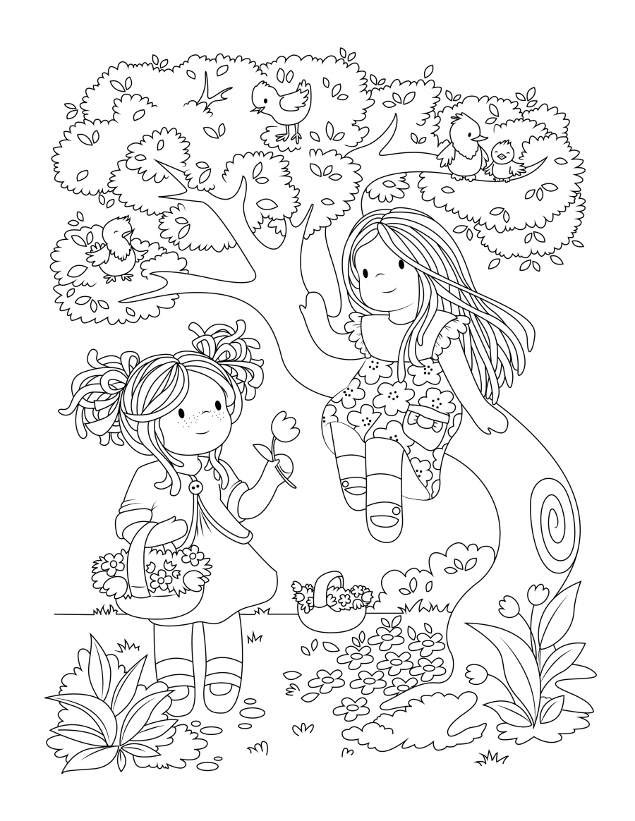 new colouring pages picking flowers in the forest bamboletta blog
